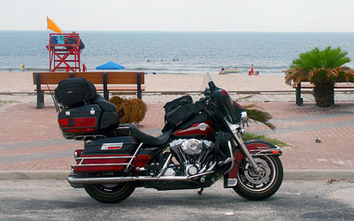 Motorcycle at the coast
